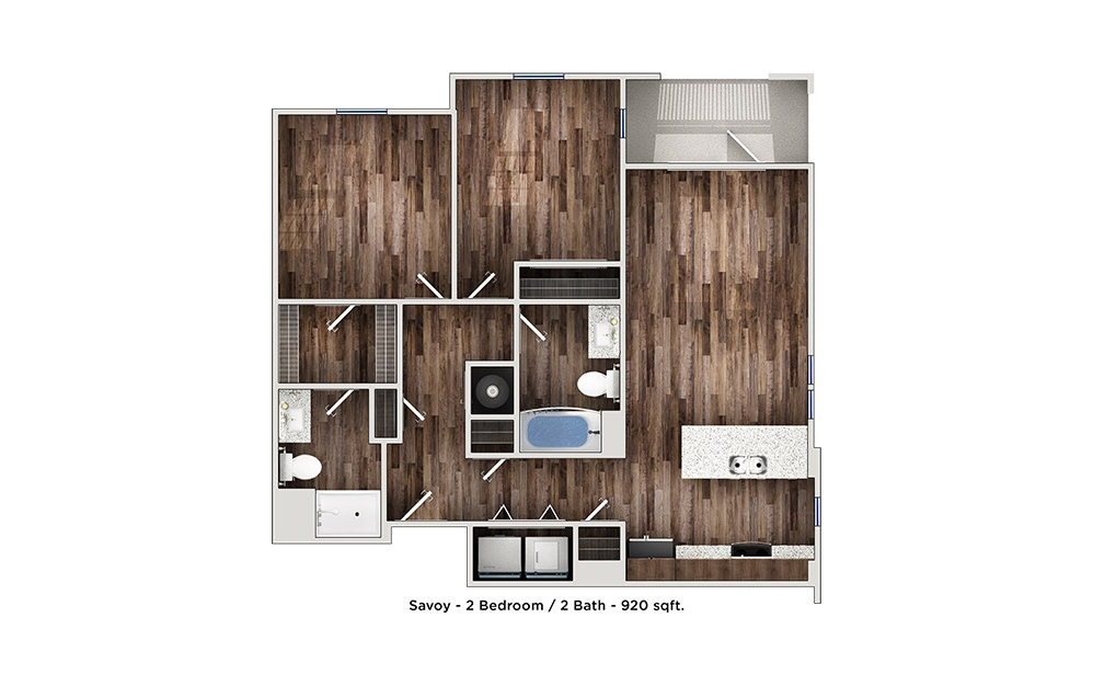 Savoy - 2 bedroom floorplan layout with 2 bath and 820 to 920 square feet (1st floor 2D)