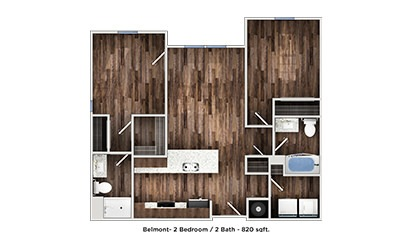 Belmont - 2 bedroom floorplan layout with 2 bath and 815 to 820 square feet