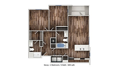 Savoy - 2 bedroom floorplan layout with 2 bath and 820 to 920 square feet